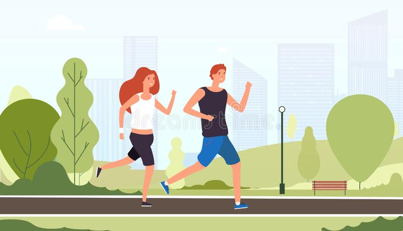 Couple running. Happy smiling guys jogging together outdoor summer park young friends training active fitness lifestyle stock illustration