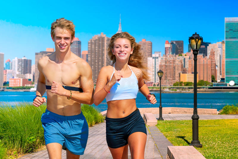 Couple running in New York photo mount stock images