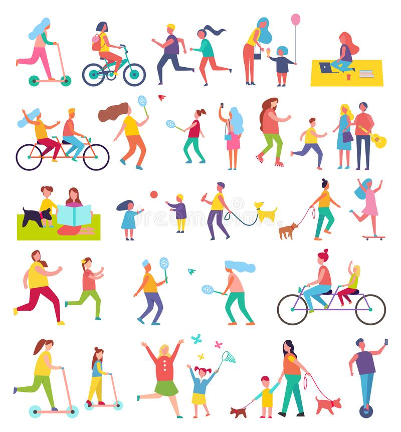 Couple Running and Riding Bike Vector Illustration vector illustration