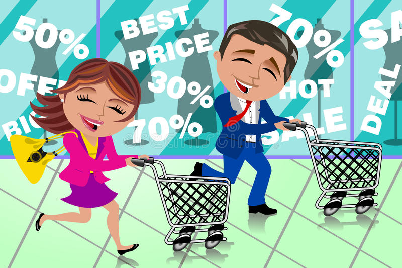 Couple Running Shopping Sale Window Shop Cart. Bob and Meg running and pushing empty cart inside shopping mall. Eps file is available. You can find other royalty free illustration
