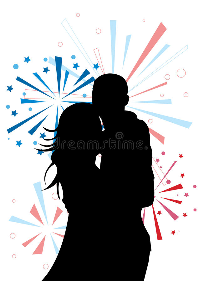 Couple's silhouette on firework background stock illustration