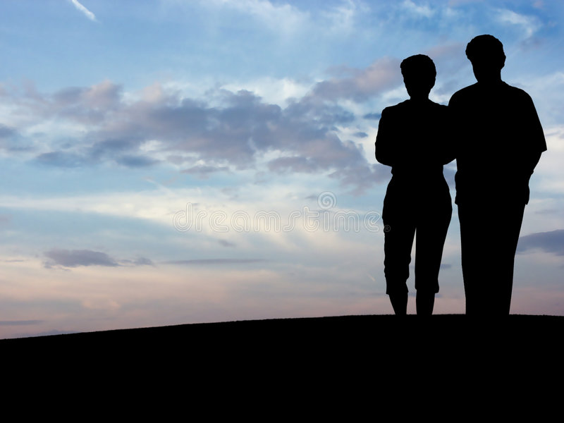 Couple's silhouette N1 royalty free stock images
