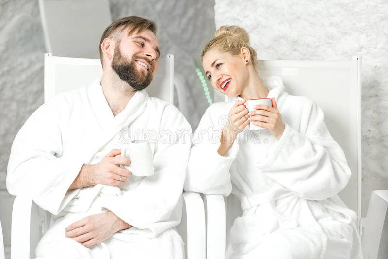 Couple in the salt room royalty free stock image