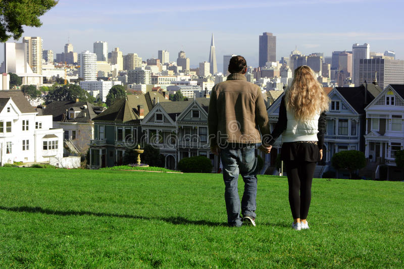 Couple in San Francisco royalty free stock images
