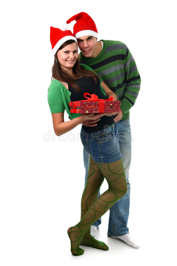 Download Couple In Santa Hat And Christmas Present Isolated Stock Image - Image: 17118453