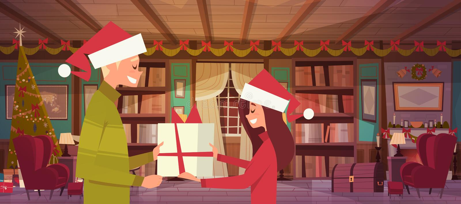 Couple In Santa Hats Holding Present Box Celebrate Christmas Together At Home stock illustration