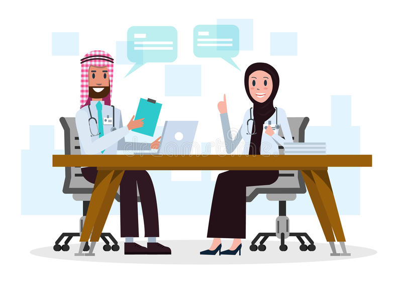 Couple Saudi Arab doctors talking about medical case in the room. stock illustration