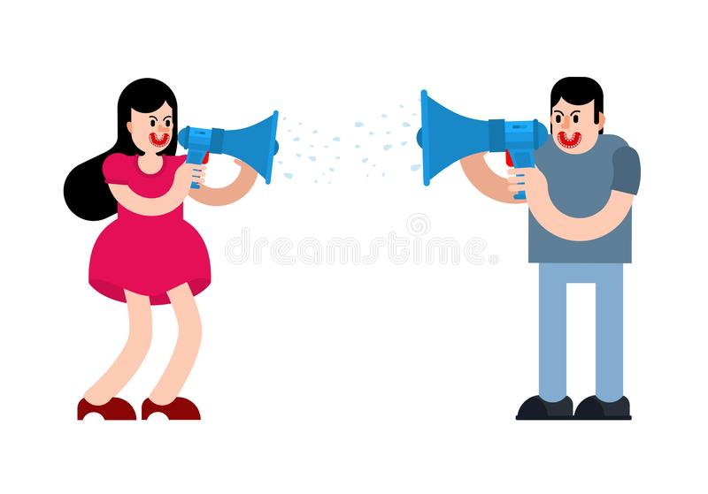Couple screaming through megaphone.  Man and woman are arguing. guy and girl scream and swear. Quarrel vector illustration royalty free illustration