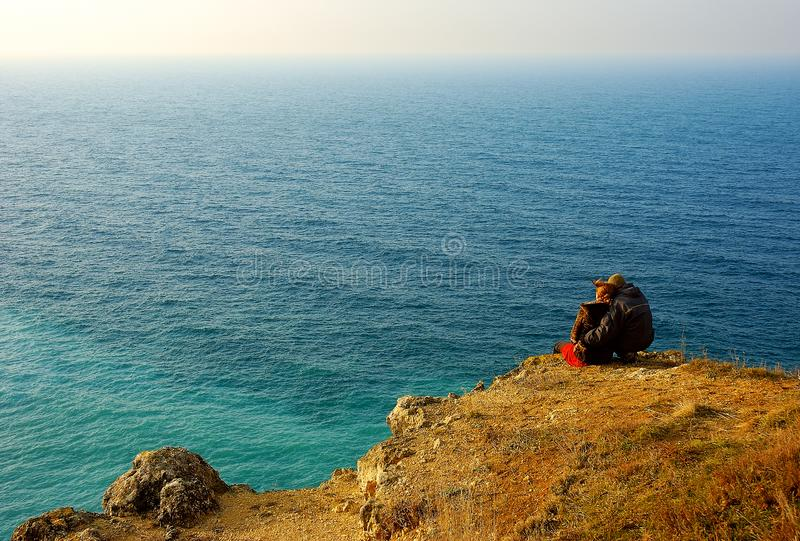 Couple on the sea royalty free stock images