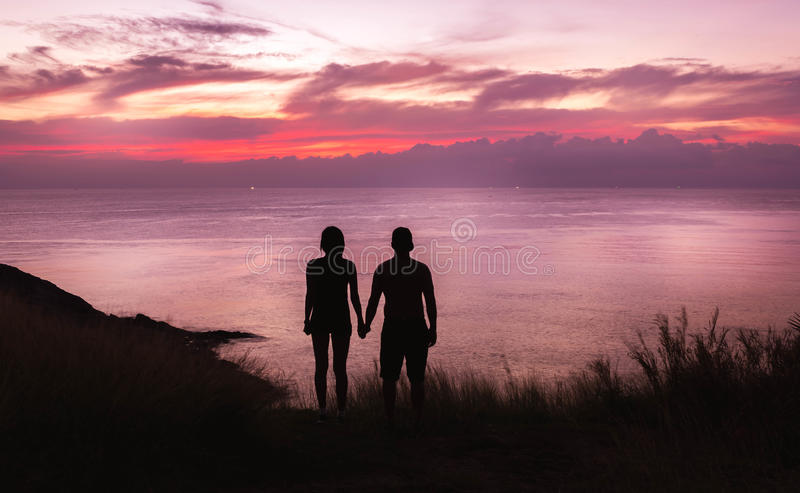 Couple and the sea stock photography