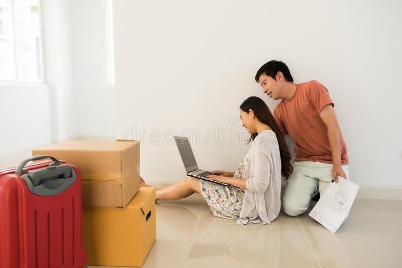 couple search decorated idea at new house royalty free stock photo