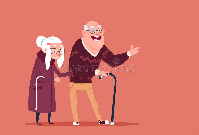 Couple Senior People Walking With Stick Modern Grandfather And Grandmother Full Length stock illustration