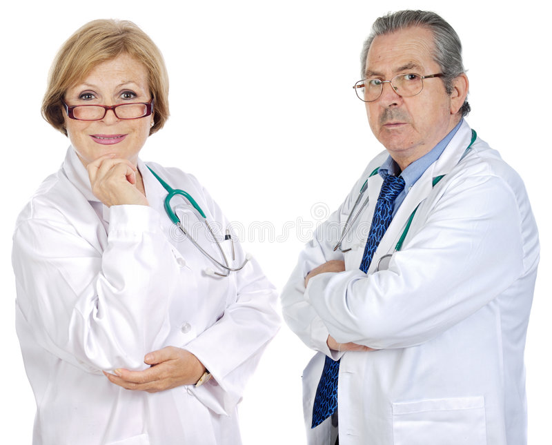 Couple of seniors doctors. A over white background stock photo