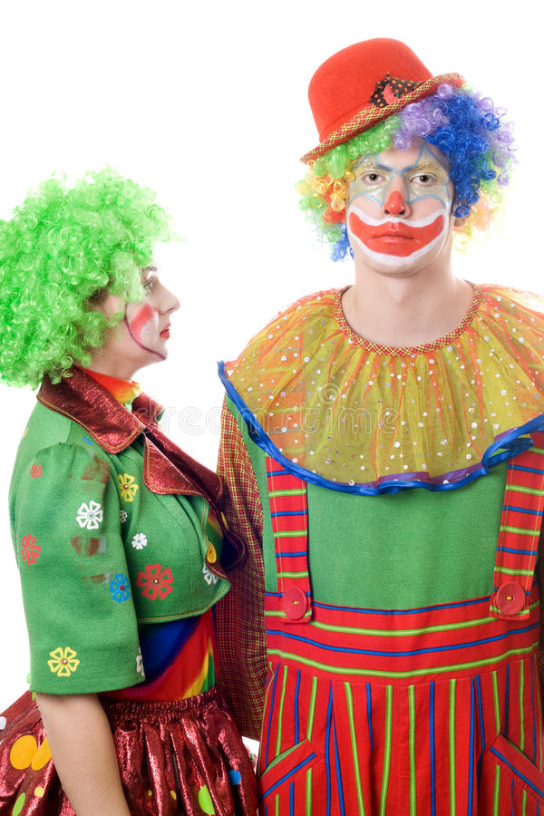 A couple of serious clowns royalty free stock photo