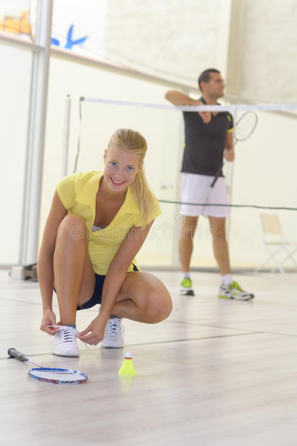 Couple with set badminton equipment royalty free stock photos