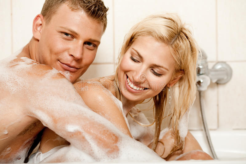 Couple Sharing A Bath Stock Images