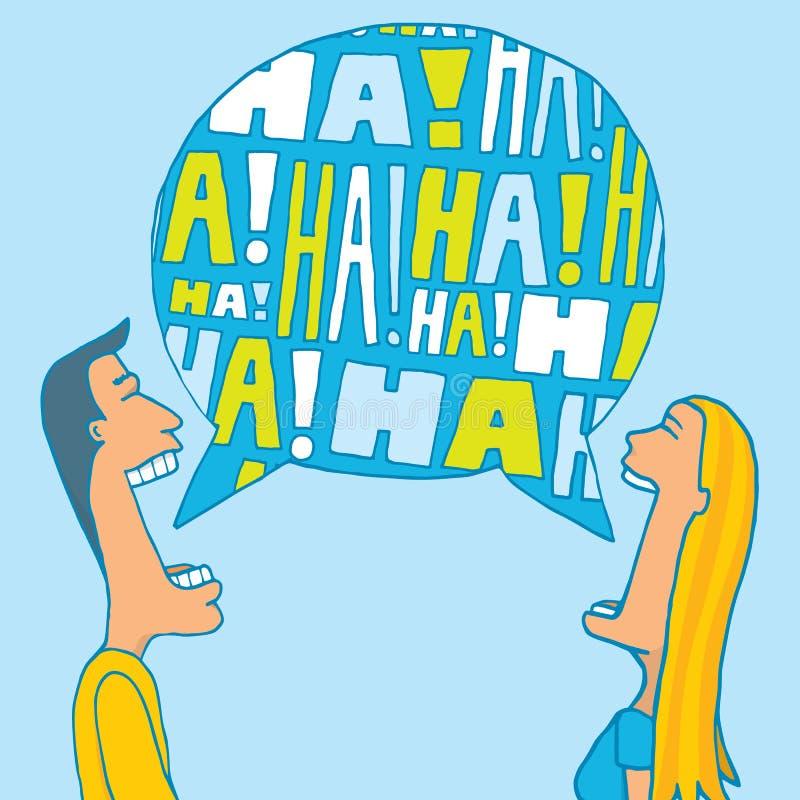 Couple sharing a laugh. Cartoon illustration of a couple sharing a laugh or laughing together vector illustration