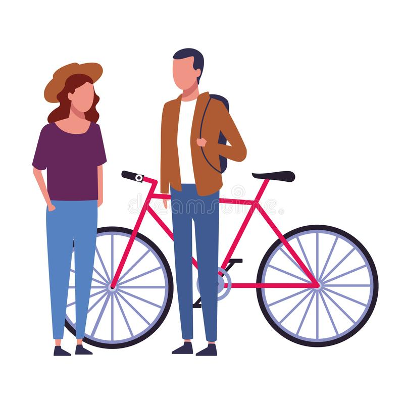 Couple sharing time cartoon. Couple with bike sharing time cartoon vector illustration graphic design stock illustration