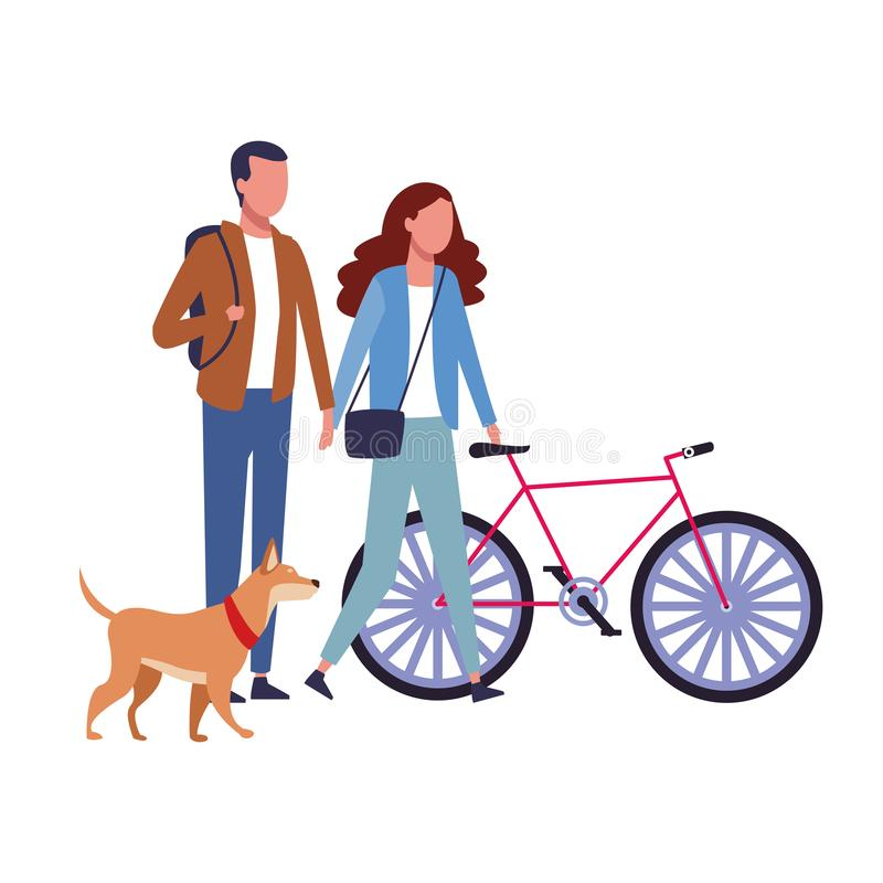 Couple sharing time cartoon. Couple sharing time with dog and bike cartoon vector illustration graphic design royalty free illustration