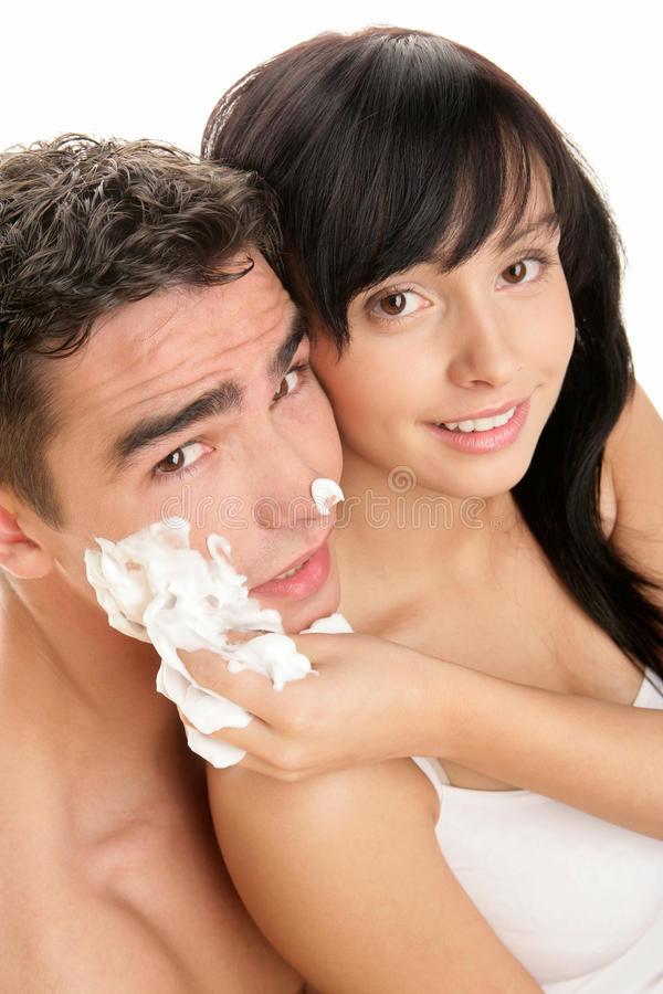 Download Couple with shaving cream stock image. Image of couples - 12838795
