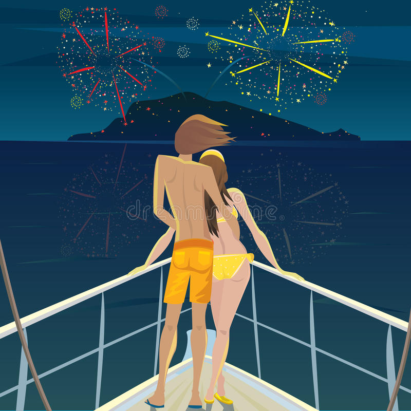 Couple on the ship admiring the fireworks over the island. Young man and a beautiful girl standing on the deck at night and admire the fireworks over the island stock illustration