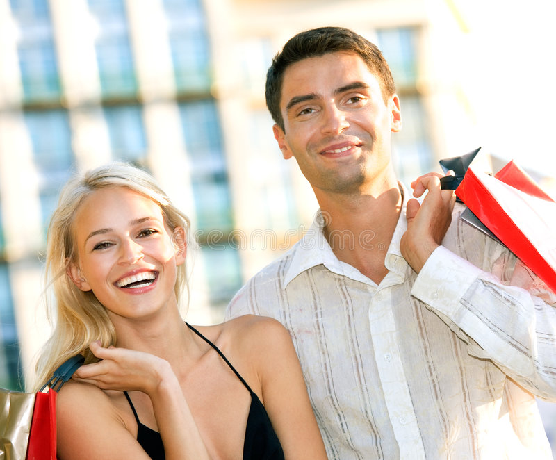 Download Couple with shopping bags stock photo. Image of relax - 3223216
