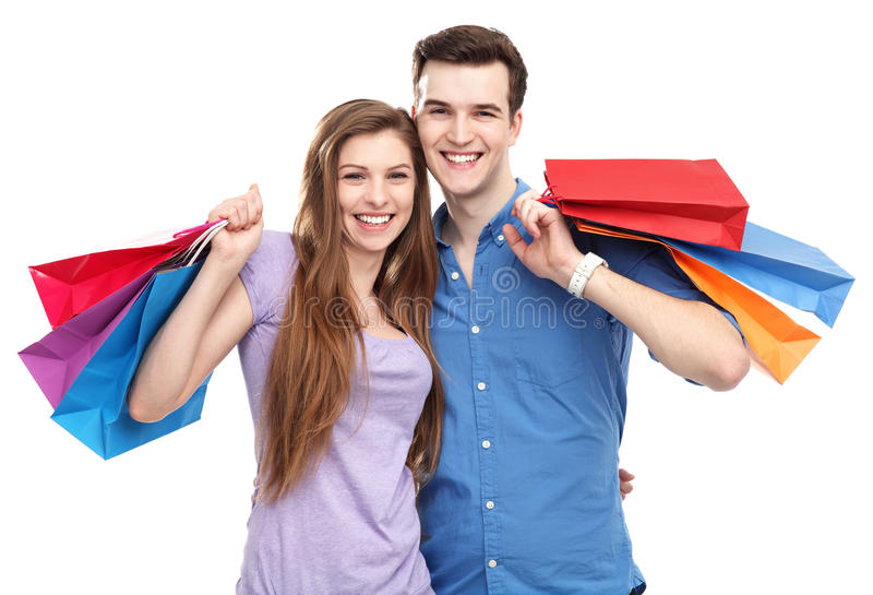 Couple with shopping bags stock photo