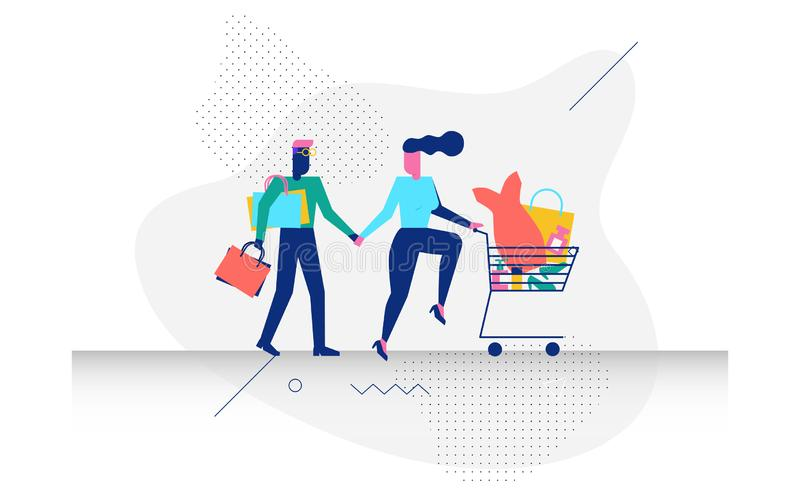 A couple in shopping concept illustration. Happy modern character couple in shopping concept illustration for web banner, flyer, landing page, presentation, book vector illustration