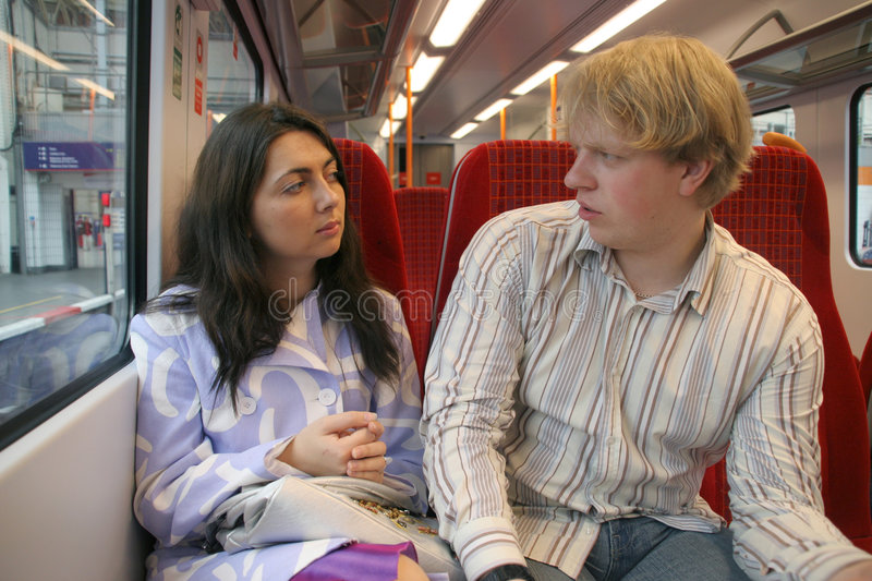Couple Siiting In Train Stock Photography