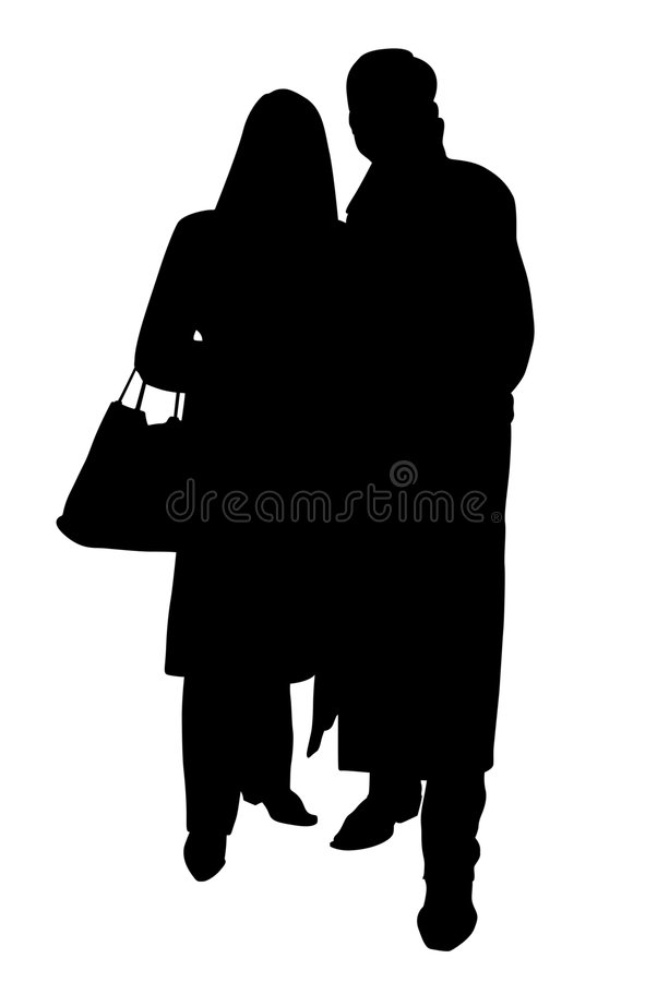 Couple silhouette with clipping path stock photography