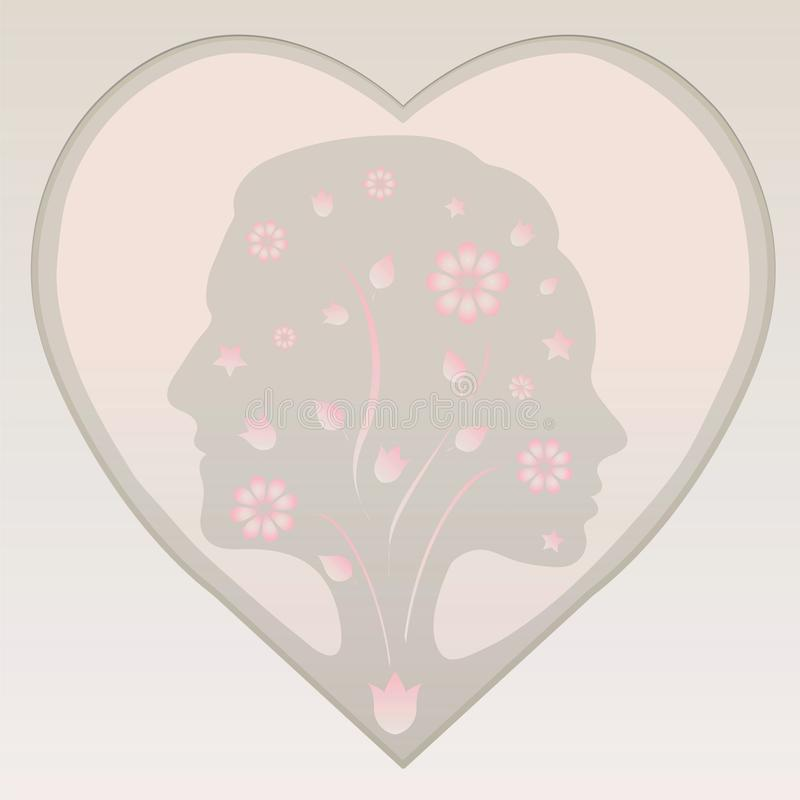 Download Couple Silhouette In A Heart In Pastel Colours Royalty Free Stock Photos - Image: 26606528