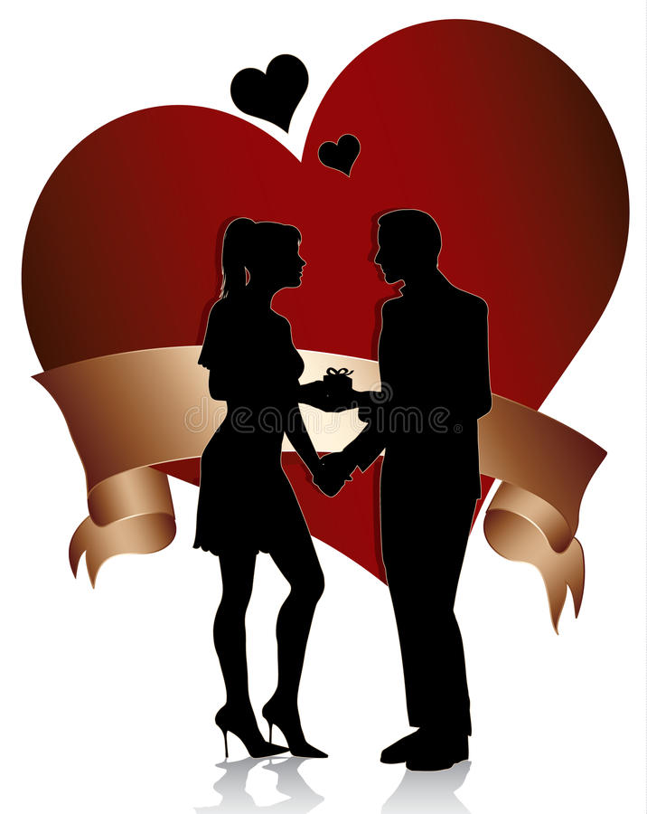 Download Couple Silhouette With Heart And Ribbon Stock Vector - Image: 17945674