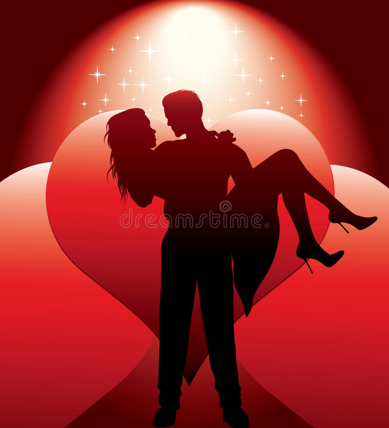 Couple silhouette with hearts stock illustration