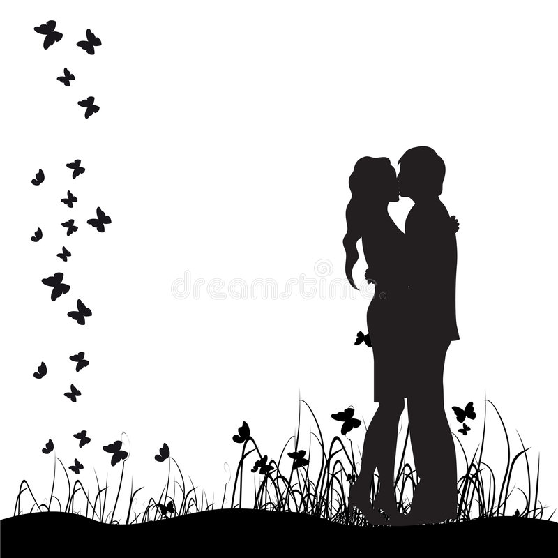 Couple silhouette,kiss,meadow vector illustration