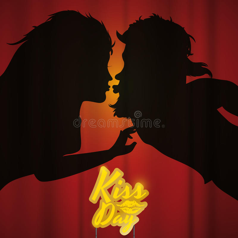 Couple Silhouette Kissing behind Curtain and a Kiss Day Sign, Vector Illustration royalty free stock photography