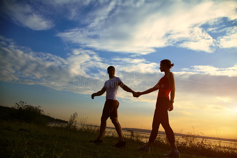 Couple silhouettes royalty free stock photos
