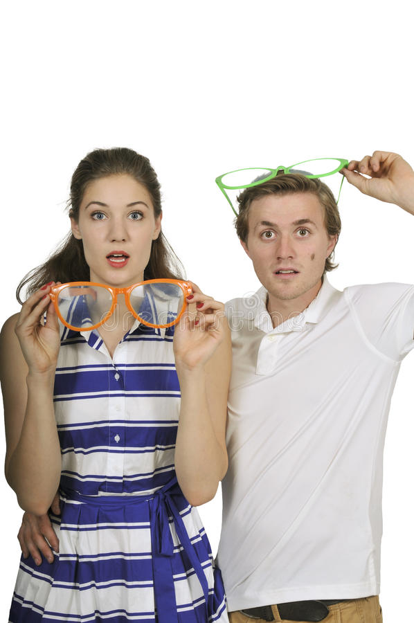 Couple with silly glasses stock photo
