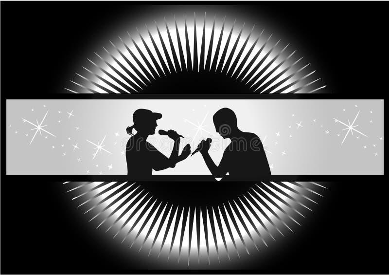 Couple of singers scene stock illustration