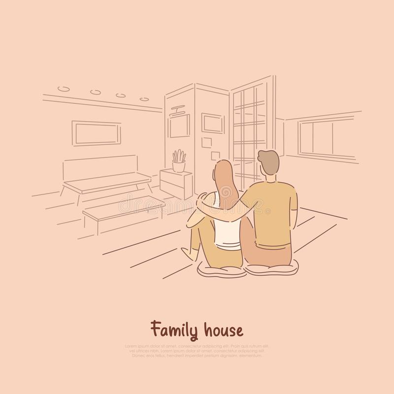 Couple sitting in apartment together, man hugging woman on floor of living room, cute pastime for lovers banner stock illustration