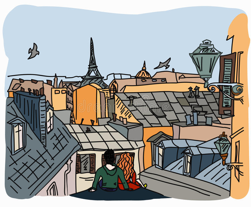 Couple sitting on the roof in Paris royalty free illustration