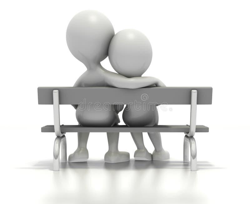Download Couple Sitting Together On Park Bench Stock Illustration - Image: 12720201