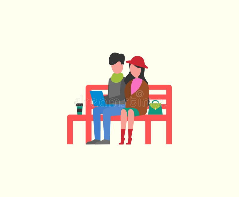 Couple Sitting on Wooden Bench Working on PC royalty free illustration
