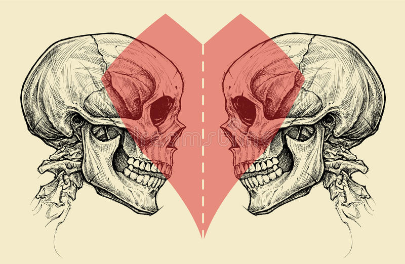 Couple Skulls and Heart Symbol with Scissors Cut Line. royalty free stock images