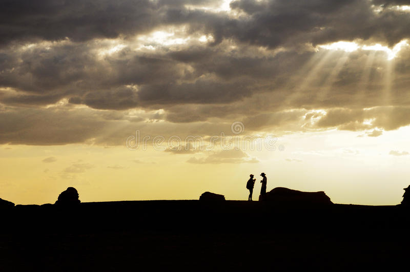 Couple on skyline stock image