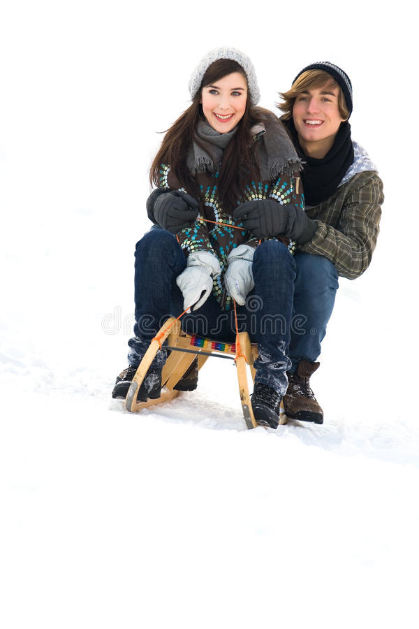 Download Couple on sled stock image. Image of girlfriend, happiness - 12619471