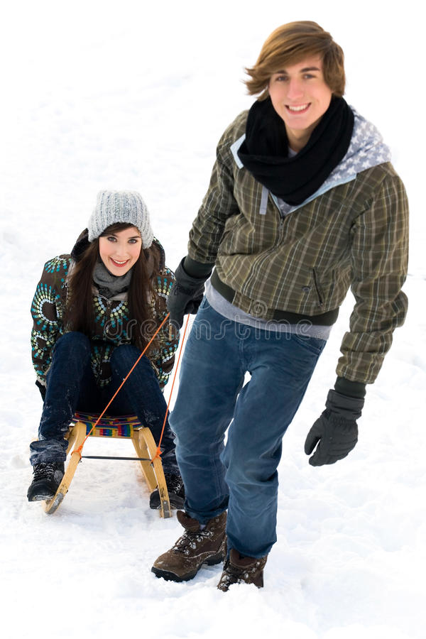 Download Couple on sled stock photo. Image of outdoors, attractive - 12626160