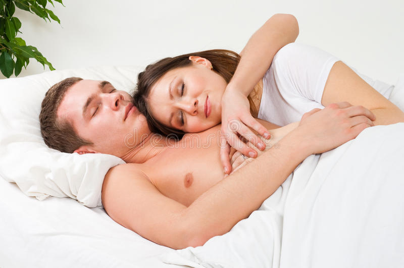 Couple Sleep In The Bed Royalty Free Stock Photo