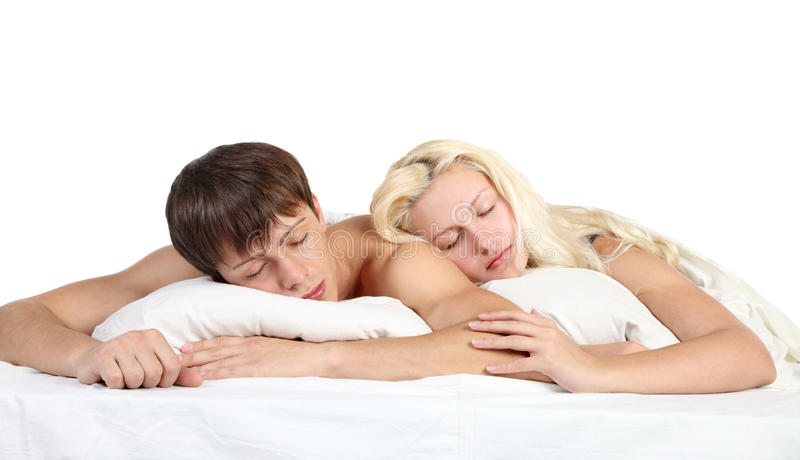 Download A couple sleep in a bed stock image. Image of rest, girlfriend - 23787511