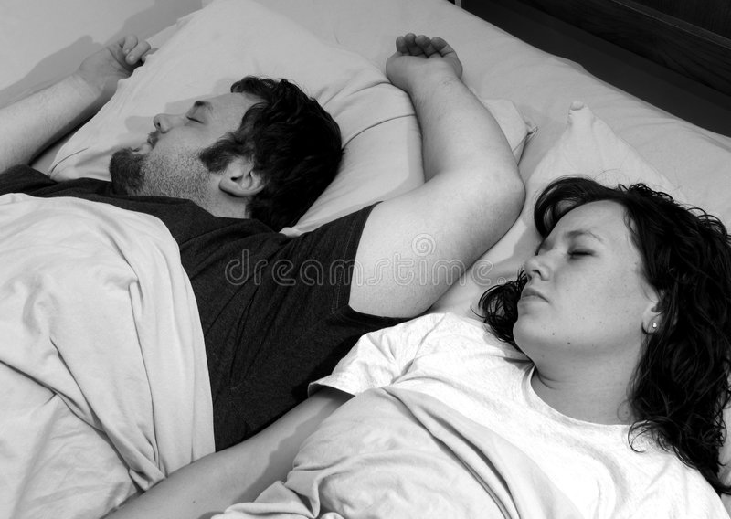 Download Couple sleeping in bed stock image. Image of pillows, mattress - 1031055