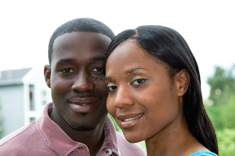 Couple In Smiling Embrace - Horizontal Stock Photography